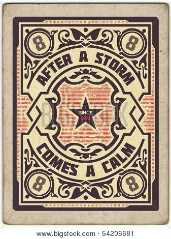 Retro stamp design with engraving and floral details. Organized by layers.