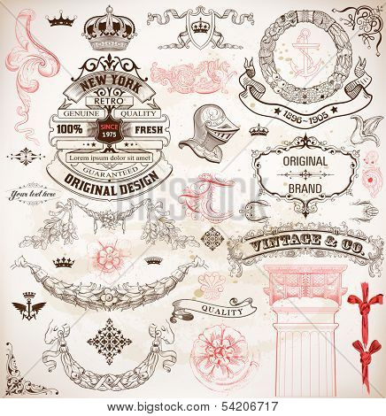 Set of calligraphic design elements: Heraldry, labels, baroque frames and floral ornaments collection. Elements organized by layers.