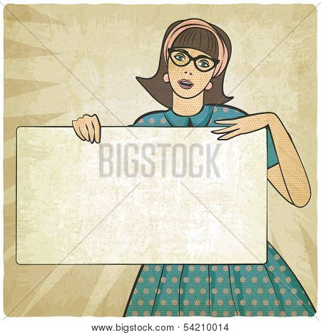girl with banner in retro style