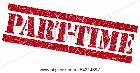 Part-time Grunge Red Stamp