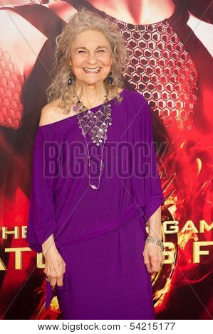 LOS ANGELES, CA - NOVEMBER 18: Actress Lynn Cohen arrives at the premiere of The Hunger Games: Catching Fire at the Nokia Theater in Los Angeles, CA on November 18, 2013