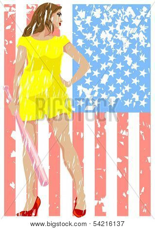 Young girl in a dress with a bat in his hands and american flag. Property release is attached to the file