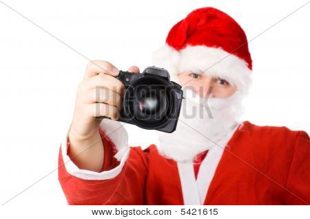 Santa Claus With Modern Digital Camera