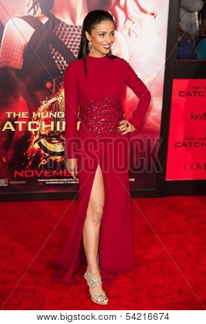 LOS ANGELES, CA - NOVEMBER 18: Actress Meta Golding arrives at the premiere of The Hunger Games: Catching Fire at the Nokia Theater in Los Angeles, CA on November 18, 2013