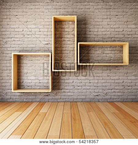 Brick wall with empty shelves in interior