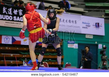 KUALA LUMPUR - NOV 03: China's Mao Yabei (red) fights USA's Ragan Beedy (black) in the Women's 'Sanda' event at the 12th World Wushu Championship on November 03, 2013 in Kuala Lumpur, Malaysia.