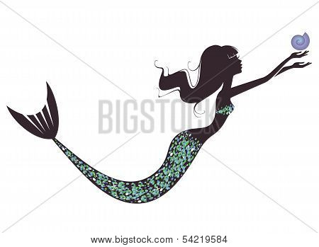 A mermaid  silhouette