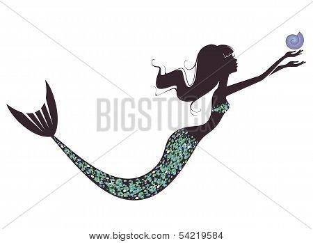 A mermaid  silhouette