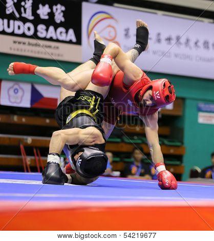 KUALA LUMPUR - NOV 03: Turkey's Ismail Uznuner (red) fights Daniel Madeira in the Men's 'Sanda' event at the 12th World Wushu Championship on November 03, 2013 in Kuala Lumpur, Malaysia.