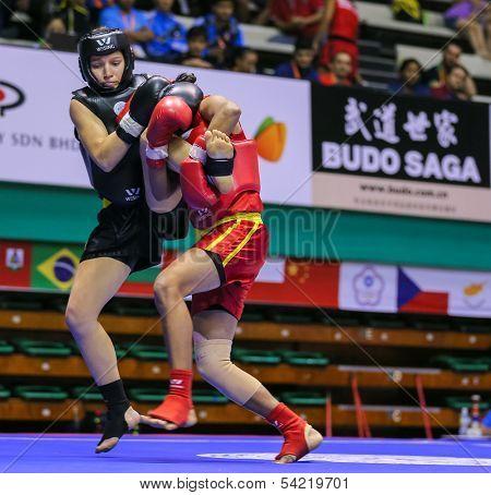 KUALA LUMPUR - NOV 03: Sri Langka's Niroshika Thilakarathna (red) fights Italy's Debora Felicetti in the 'Sanda' event, 12th World Wushu Championship on November 03, 2013 in Kuala Lumpur, Malaysia.