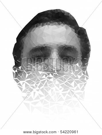 Polygonal face of a man crumbling to pieces