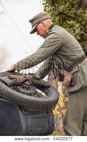 DNIPRODZERZHYNSK, UKRAINE - OCTOBER 26 : Member Historical reenactment in Nazi Germany uniform on Oc
