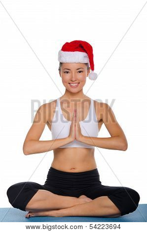 Smiling Asian In Santa Claus Hat