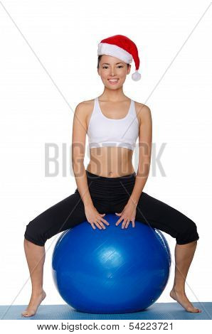 Asian Girl With A Ball Between His Legs
