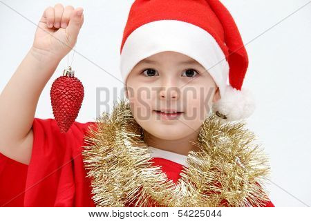 Little Child With Santa Hat