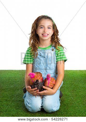 breeder hens kid girl rancher farmer hug chicken chick white background