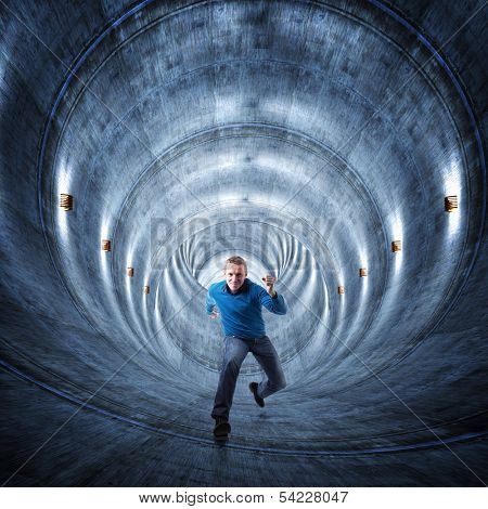 3d image of concrete tunnel and running man