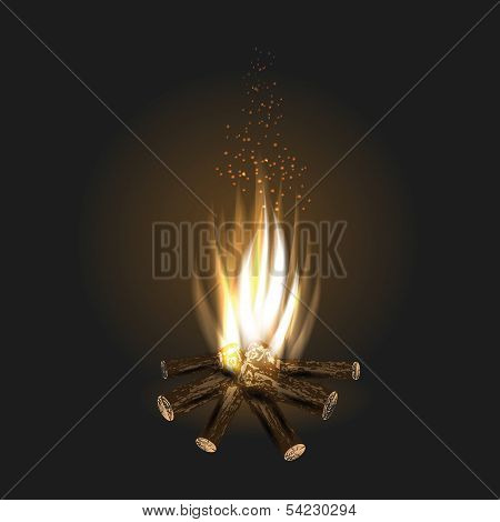Bonfire On Black Background