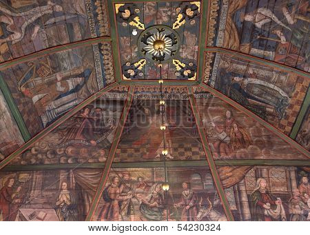 Paintings On Ceiling In Tornio Church, Finnish Lapland.
