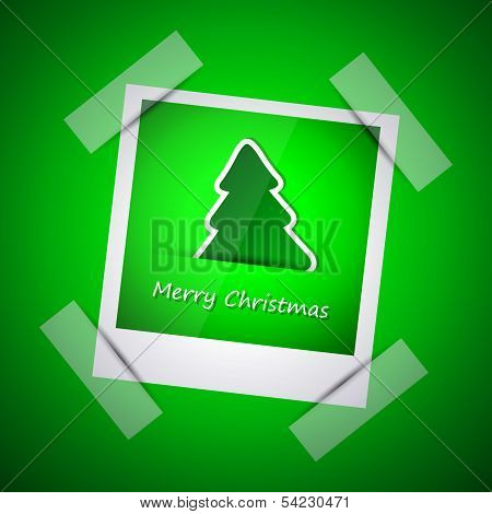 Green picture of merry christmas