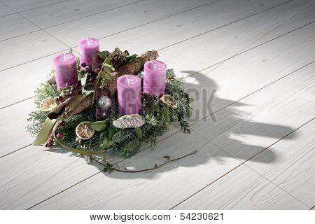 Advent Wreath With Purple Candles