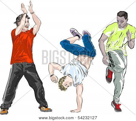 Street dancers on a white background