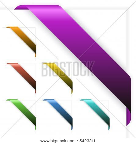 Set Of Empty Colorful Corner Ribbons