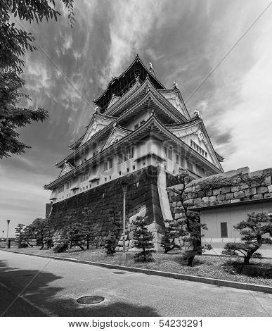 Wideangle Photo Of The Main Keep Of Osaka Castle  In Osaka, Japan.