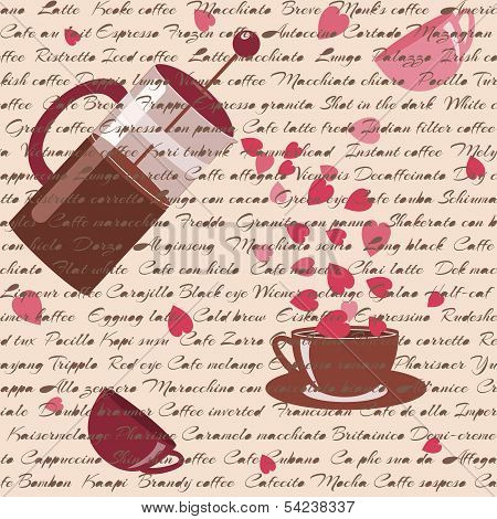 Seamless pattern with coffee and hearts