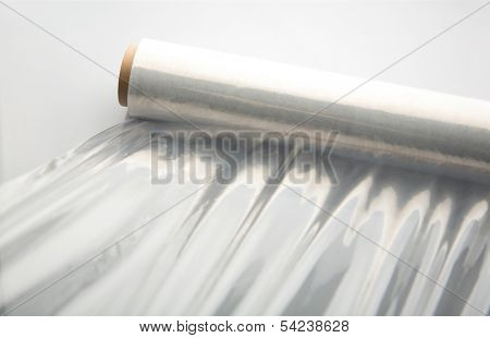 Wrapping plastic stretch film background.