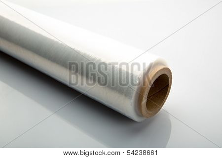 Roll of wrapping plastic stretch film on white background