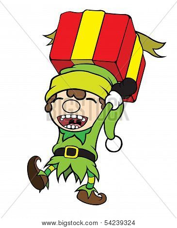 Christmas Elf Boy Carrying Gift