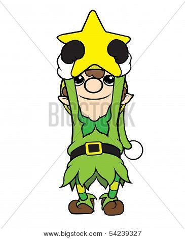 Christmas Elf Boy Holding Star