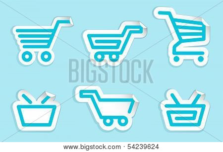 Shopping cart and basket icons