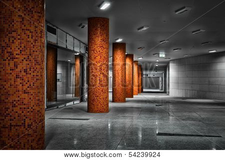 Columns Of A Subway Station