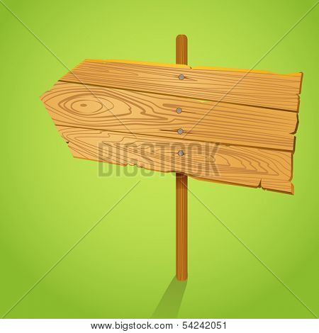 Blank Wood arrow informer illustration. Template for a text