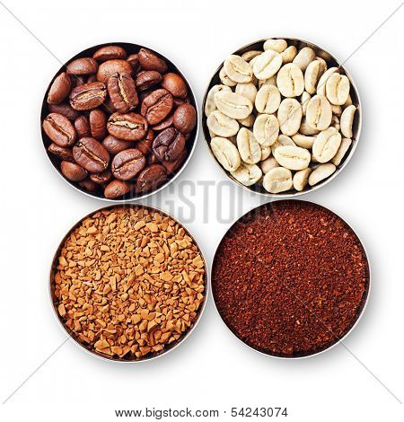 Bowls with green, roasted coffee beans, ground and instant coffee isolated on white.
