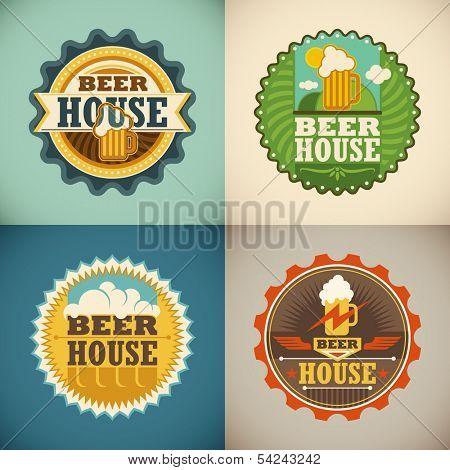 Set of beer house labels. Vector illustration.