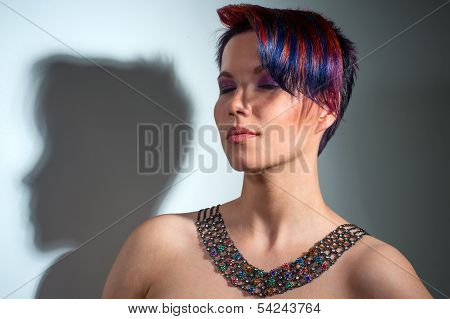 Portrait Of A Beautiful Girl With Dyed Hair, Professional Hair Coloring