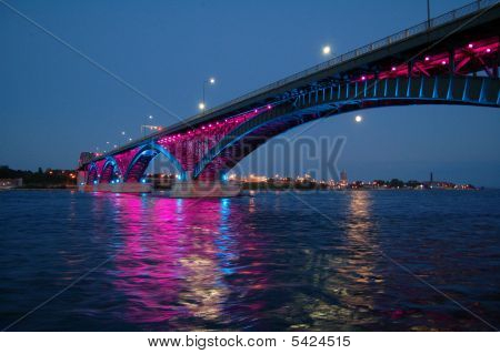 International Peace Bridge Awash in  Pink &  Blue