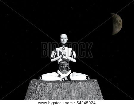 Robot Woman Meditating In Space.