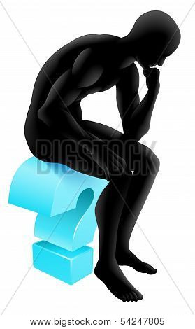 Silhouette Thinker Question Mark