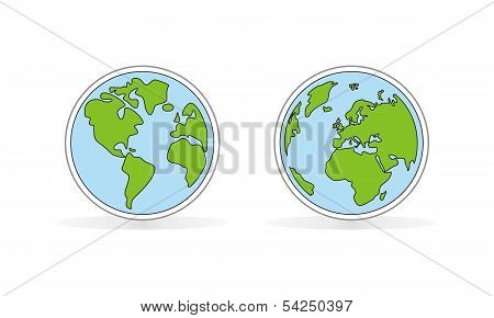 Hand drawn flat planet earth icon