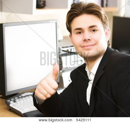 Happy Businessman In Office