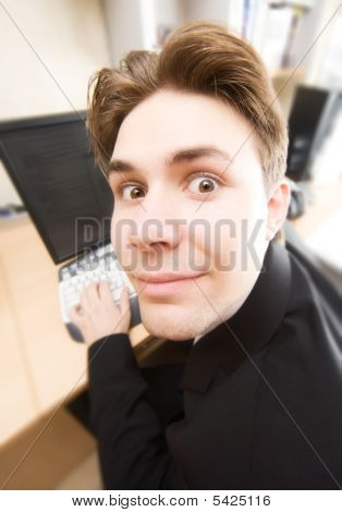 Businessman Working On Computer Funny Portrait