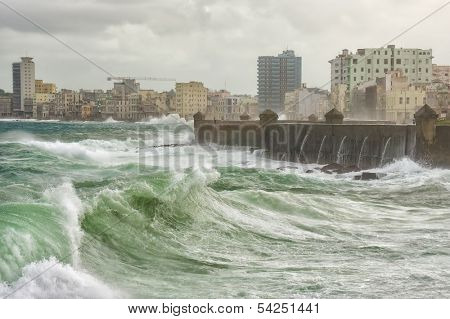 Tropical cyclone in Havana with huge waves hitting the sea wall