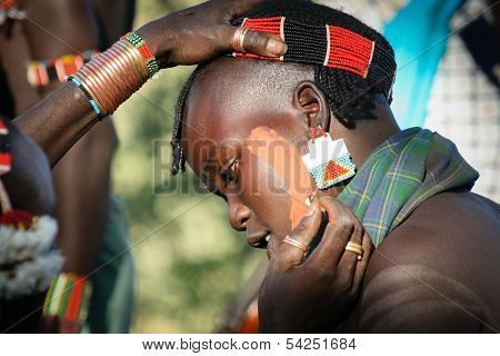Boys Wear Makeup For The Bull Jumping Ceremony, Ethiopia