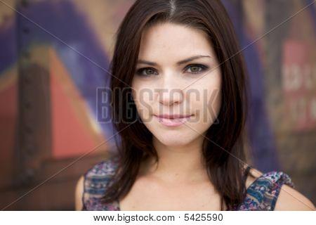 Sexy Brunette Looking Toward Camera