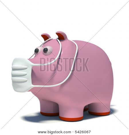 Illustraton Of A Pig In An Air Mask
