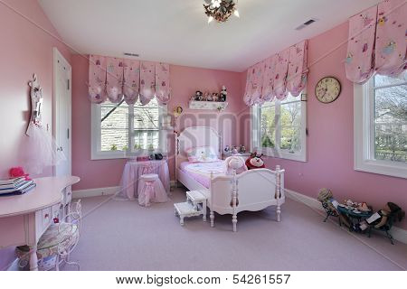 Pink girls room in luxury suburban home